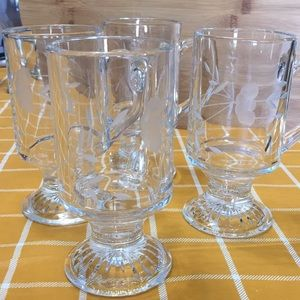 Princess House Set of 4 Hot Beverage Mugs Crystal